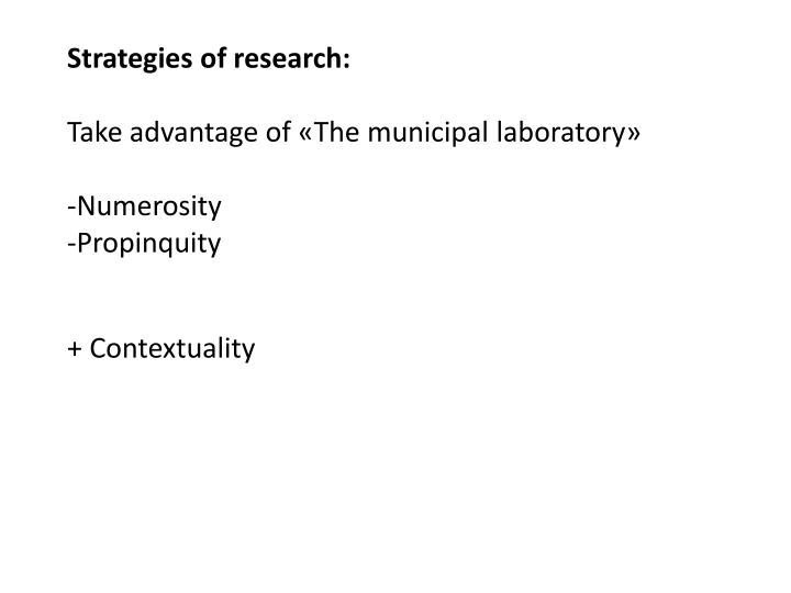 Strategies of research:
