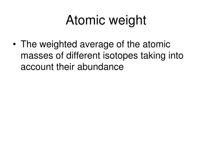 Atomic weight
