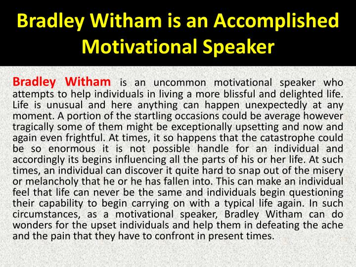 Bradley Witham is an Accomplished Motivational