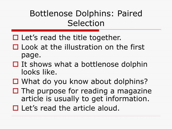 Bottlenose Dolphins: Paired Selection