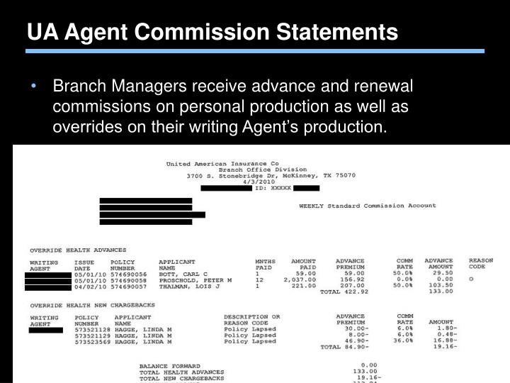 UA Agent Commission Statements