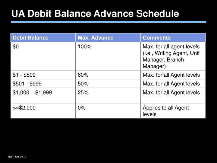 UA Debit Balance Advance Schedule