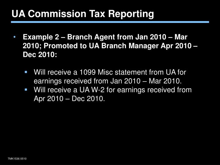 UA Commission Tax Reporting