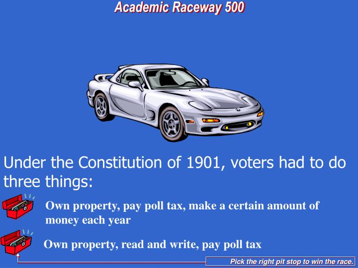 Own property, pay poll tax, make a certain amount of money each year