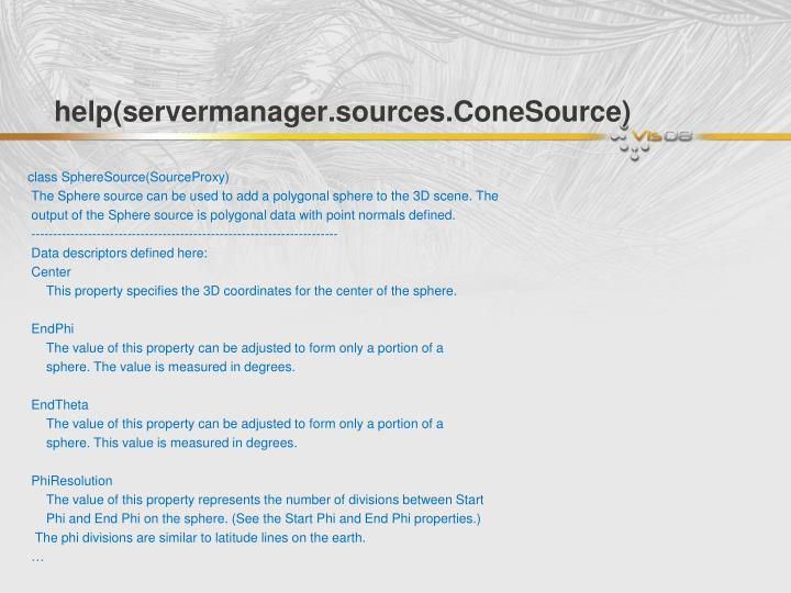 help(servermanager.sources.ConeSource)