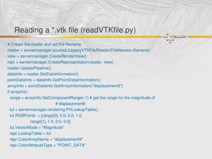 Reading a *.vtk file (readVTKfile.py)