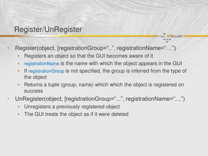 Register/UnRegister