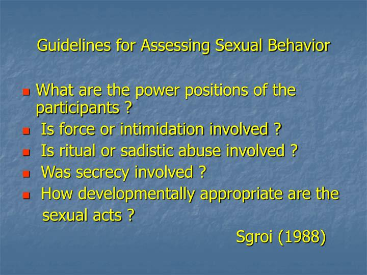 Guidelines for Assessing Sexual Behavior