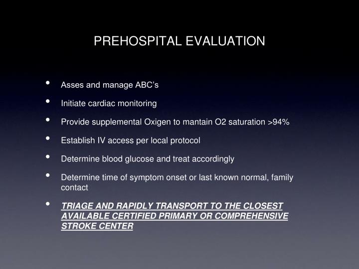 PREHOSPITAL EVALUATION