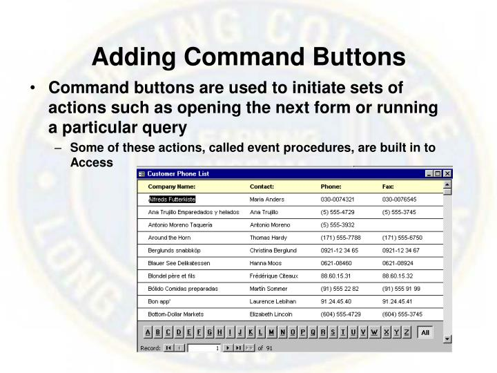 Adding Command Buttons