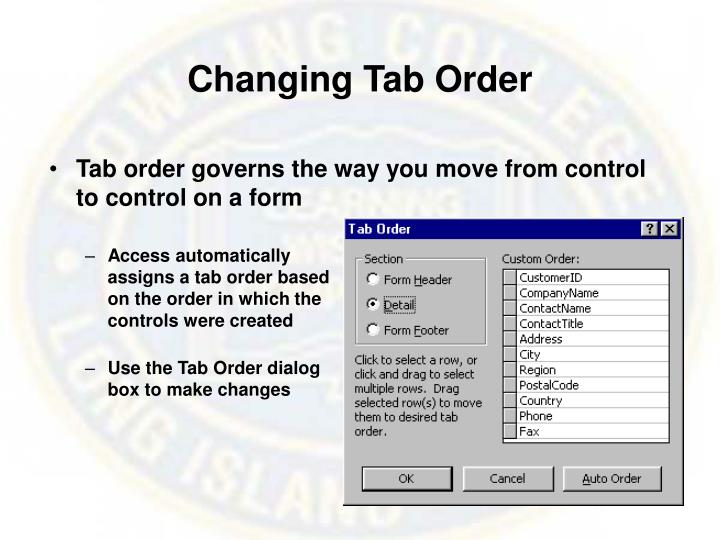 Changing Tab Order