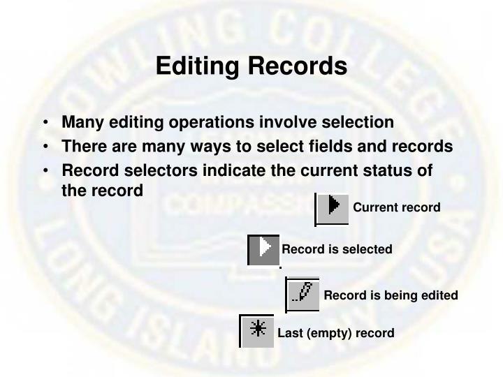 Editing Records