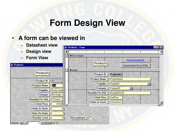 Form Design View