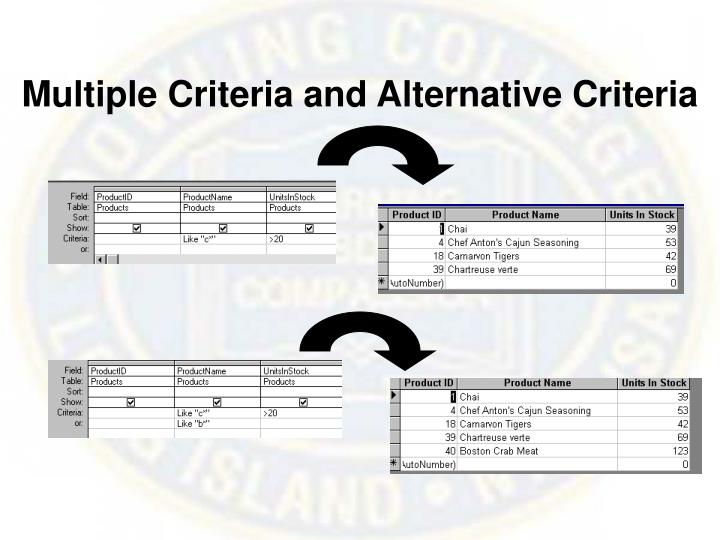 Multiple Criteria and Alternative Criteria