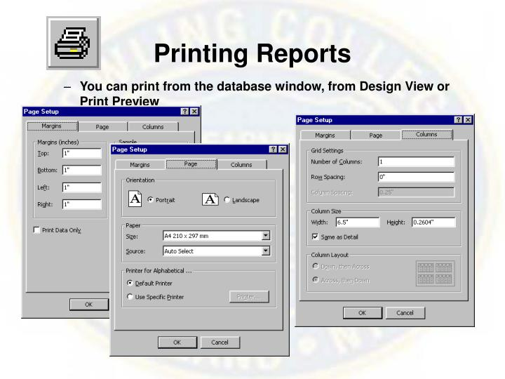 Printing Reports