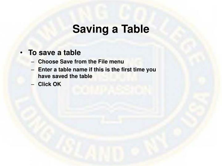 Saving a Table