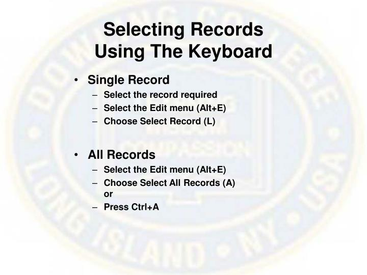 Selecting Records