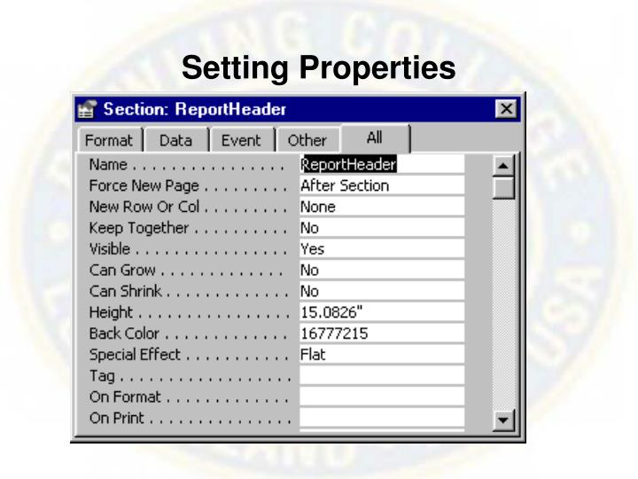 Setting Properties