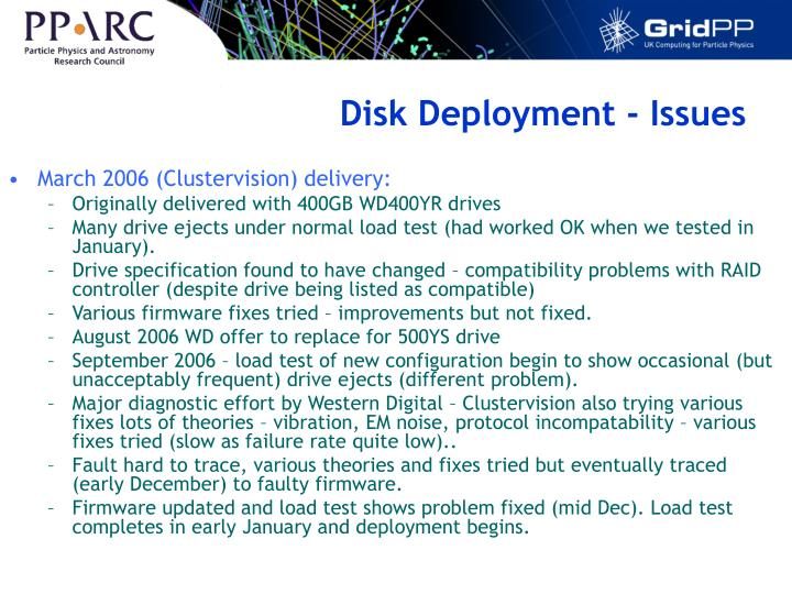 Disk Deployment - Issues