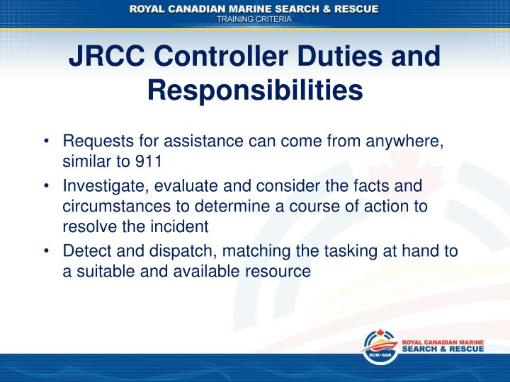 JRCC Controller Duties and Responsibilities