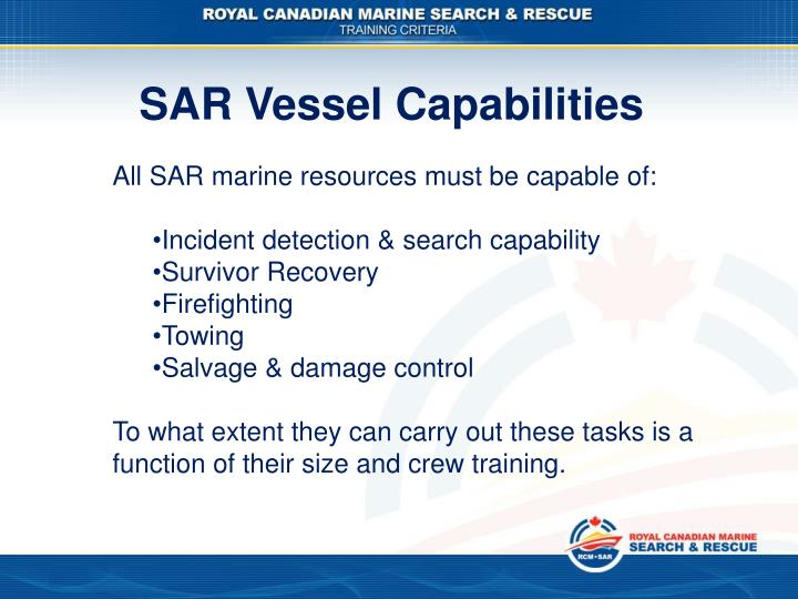 SAR Vessel Capabilities