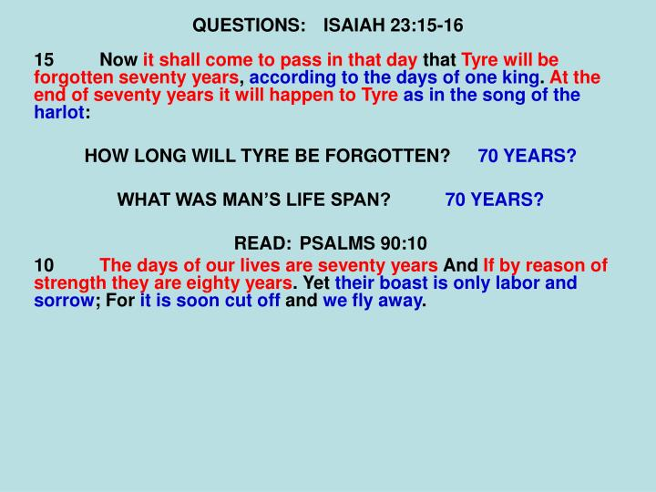 QUESTIONS:ISAIAH 23:15-16