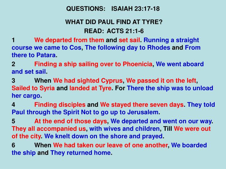 QUESTIONS:ISAIAH 23:17-18