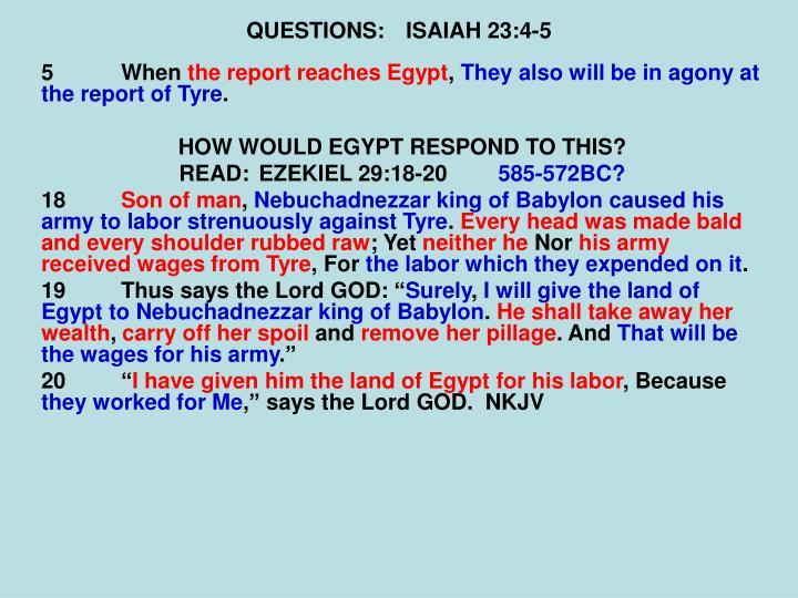 QUESTIONS:ISAIAH 23:4-5