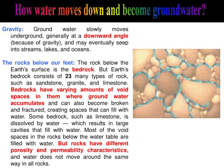How water moves down and become groundwater?