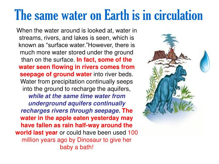 The same water on Earth is in circulation