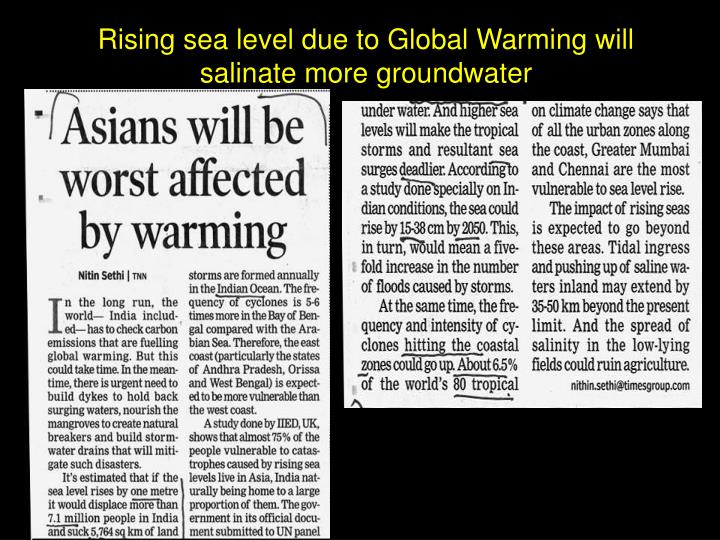 Rising sea level due to Global Warming will