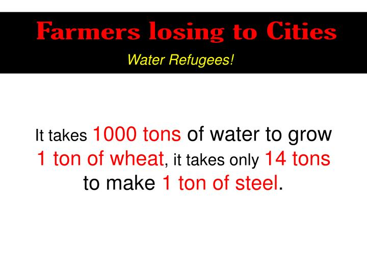 Farmers losing to Cities