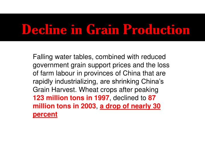 Decline in Grain Production