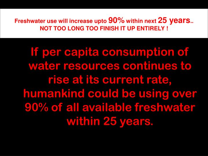 Freshwater use will increase upto