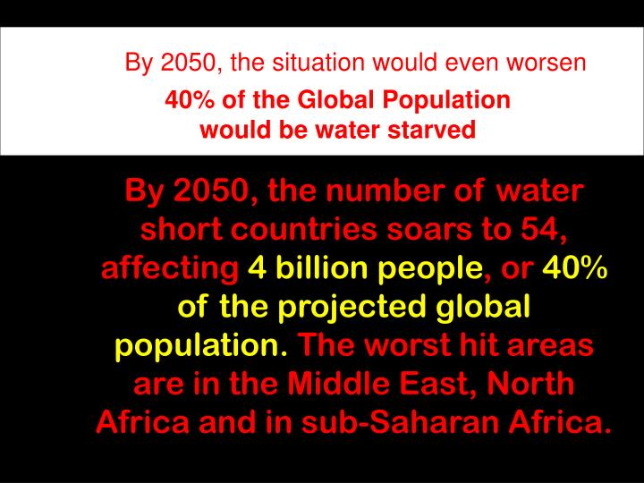 By 2050, the situation would even worsen