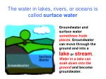 the water in lakes rivers or oceans is called surface water