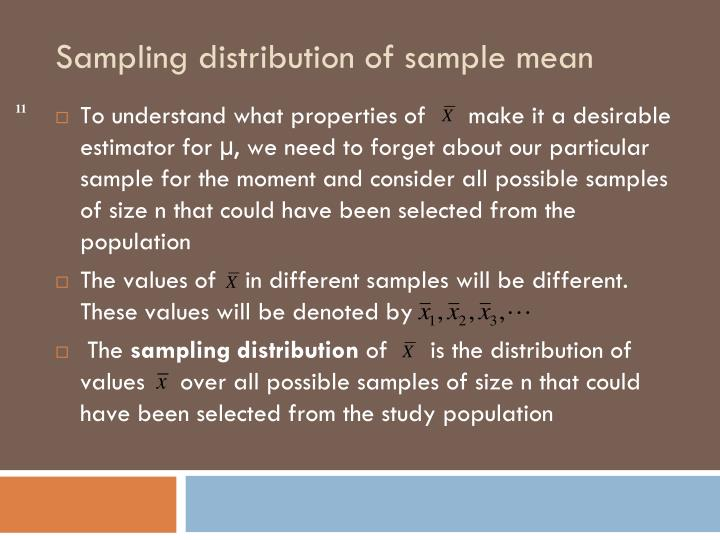 To understand what properties of      make it a desirable estimator for µ, we need to forget about our particular sample for the moment and consider all possible samples of size n that could have been selected from the population