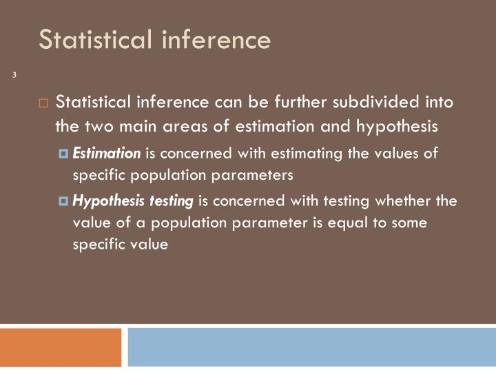 Statistical inference can be further subdivided into the two main areas of estimation and hypothesis