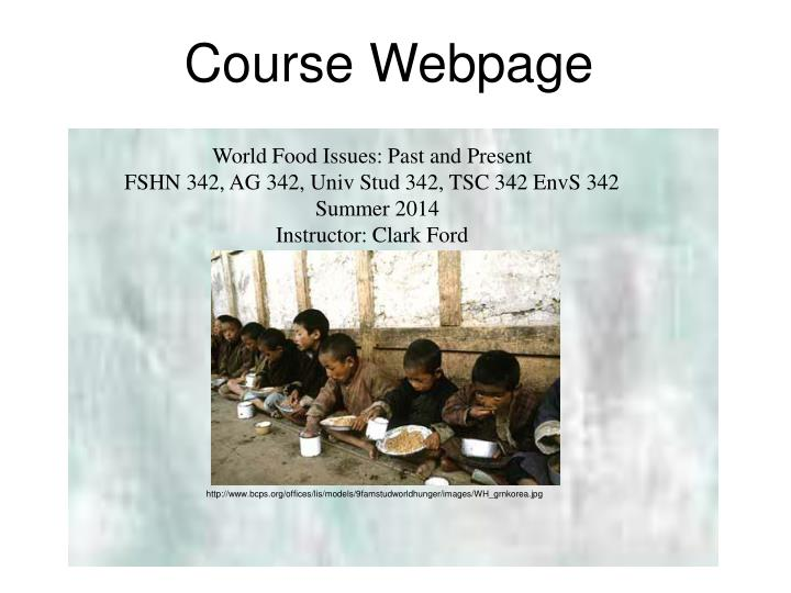 Course website google world food issues