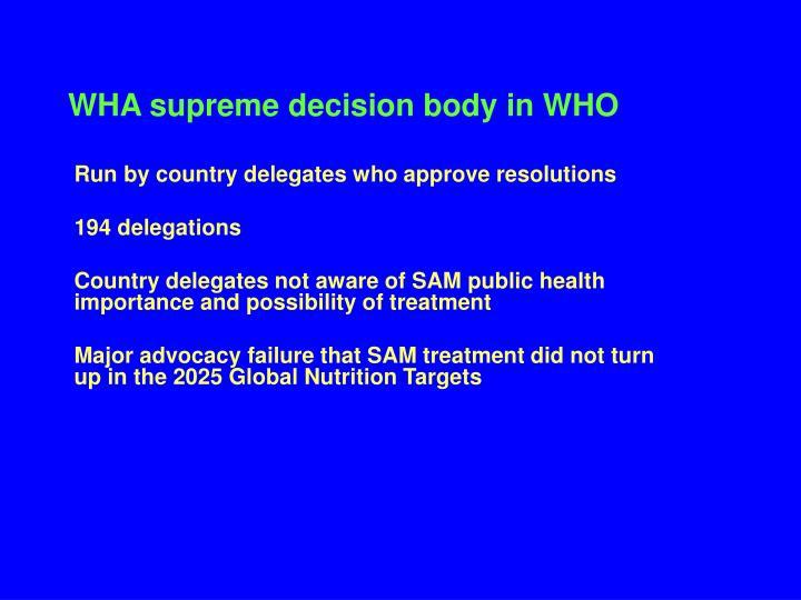 WHA supreme decision body in WHO