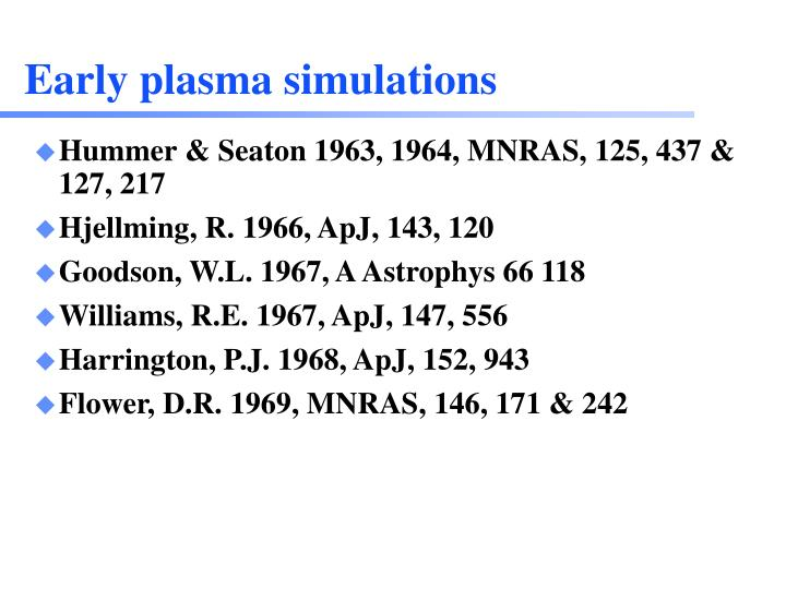 Early plasma simulations
