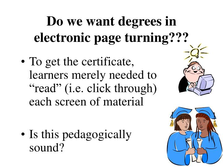 Do we want degrees in electronic page turning???