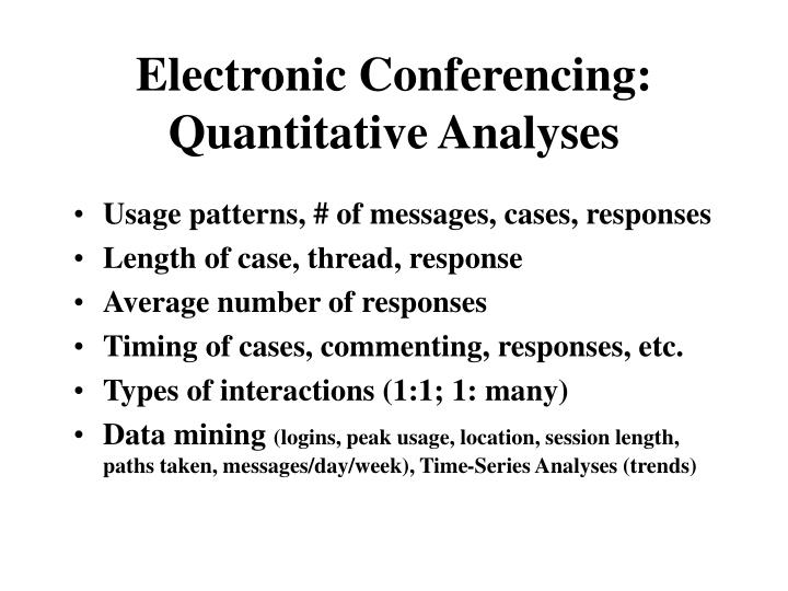 Electronic Conferencing: Quantitative Analyses