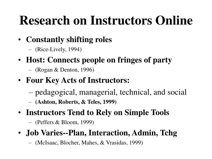 Research on Instructors Online
