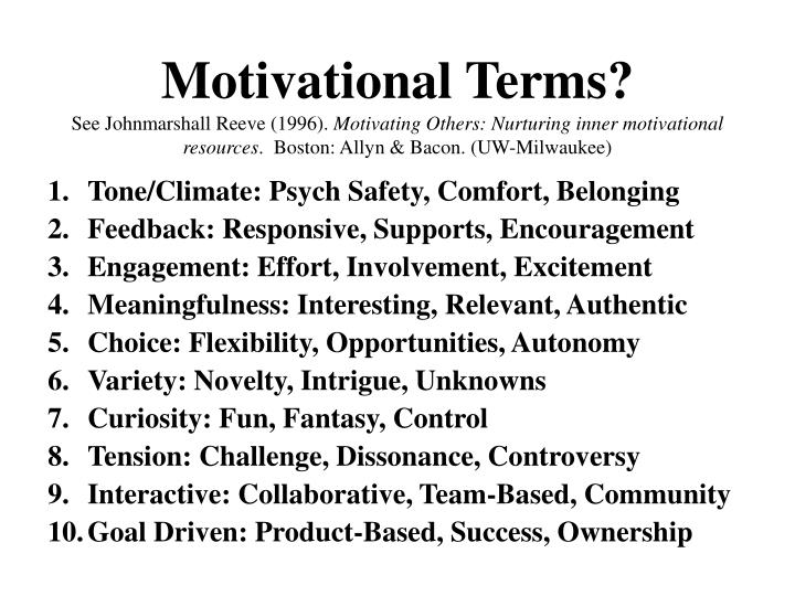 Motivational Terms?