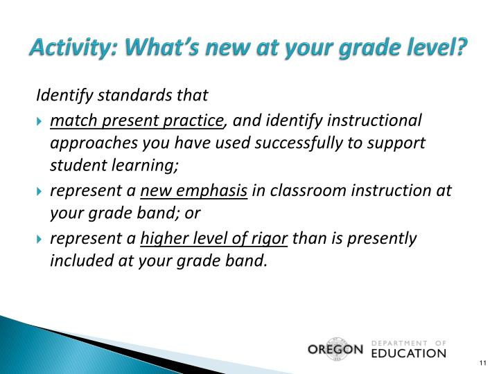 Activity: What's new at your grade level?