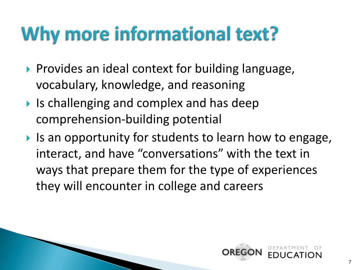 Why more informational text?