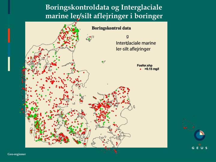Boringskontroldata og Interglaciale marine ler/silt aflejringer i boringer
