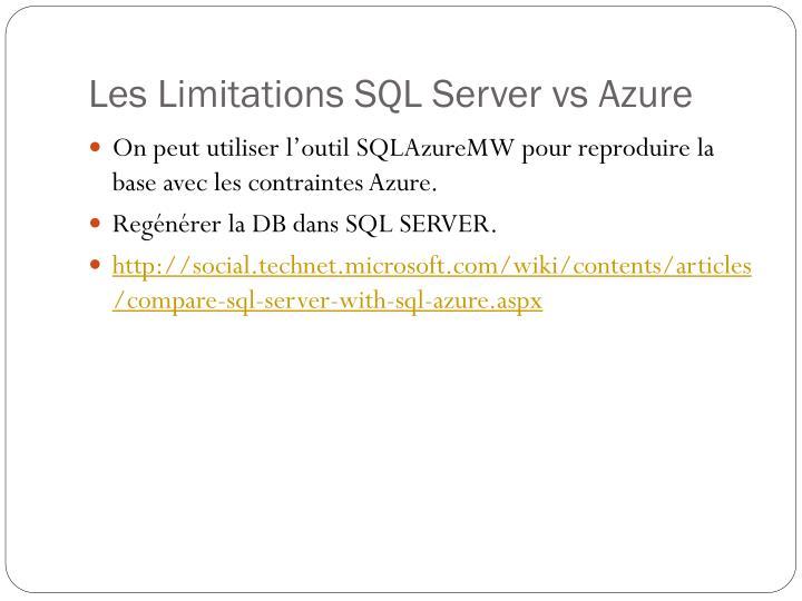 Les Limitations SQL Server