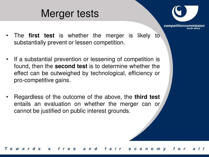 Merger tests